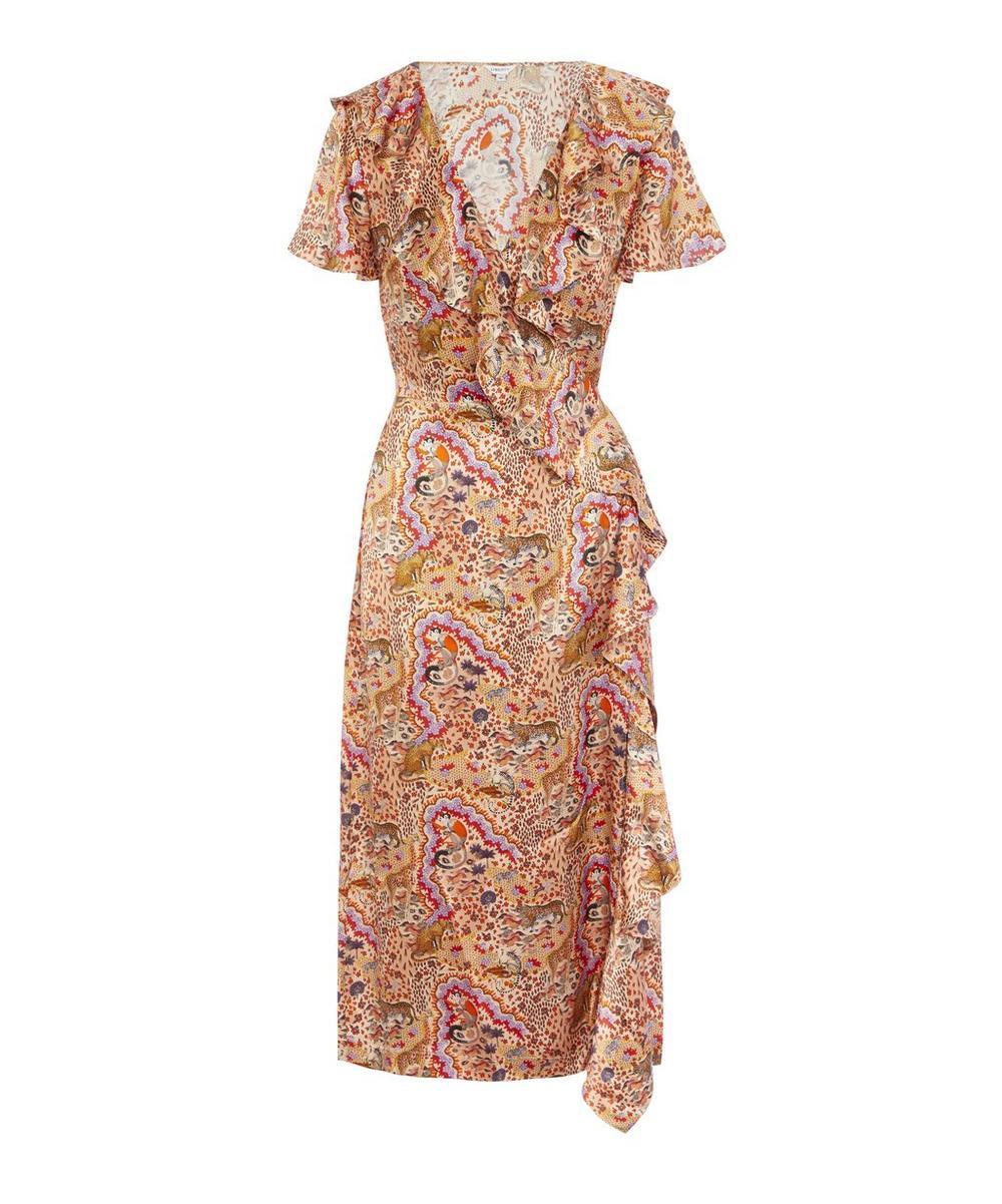 Liberty - Maxine Silk Satin Ruffled Wrap Dress
