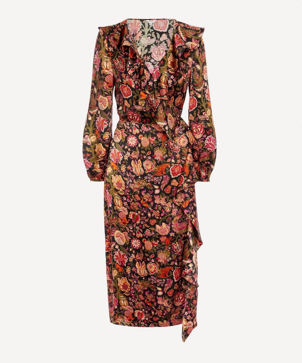 Liberty - Tree of Life Silk Satin Ruffled Wrap Dress
