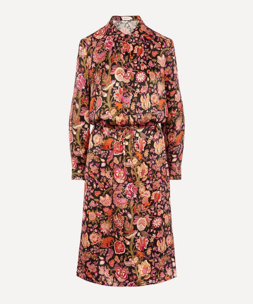 Liberty - Tree of Life Silk Satin Drawstring Shirt Dress