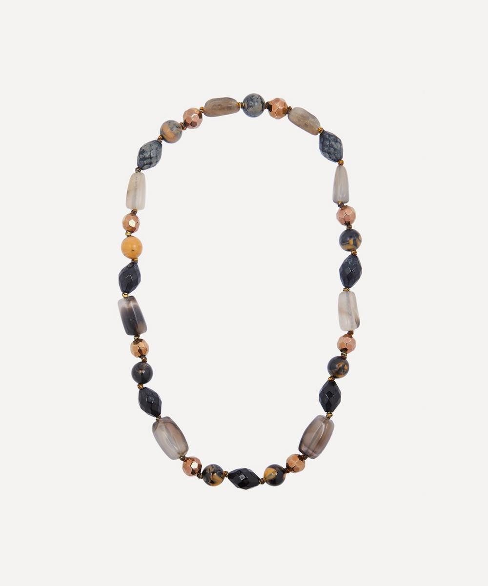 Designer Vintage - 1970s Rose Gilt and Faux Gemstone Beaded Necklace