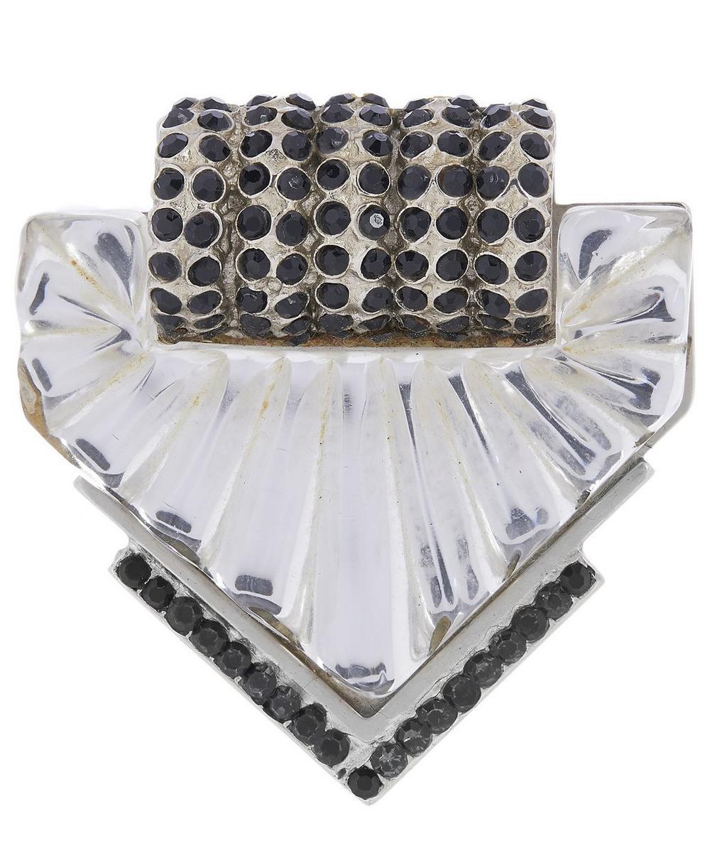 Designer Vintage - 1980s Gianni Versace White Metal Faux Quartz and Jet Brooch