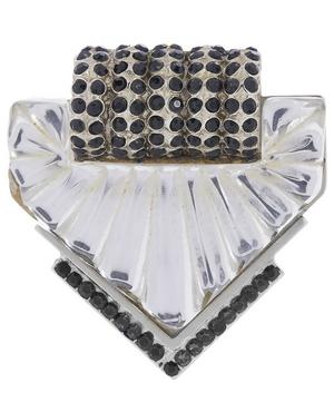 1980s Gianni Versace White Metal Faux Quartz and Jet Brooch