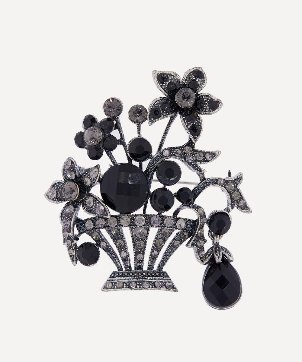 Designer Vintage - 1950s White Metal Faux Diamond and Black Jet Floral Brooch