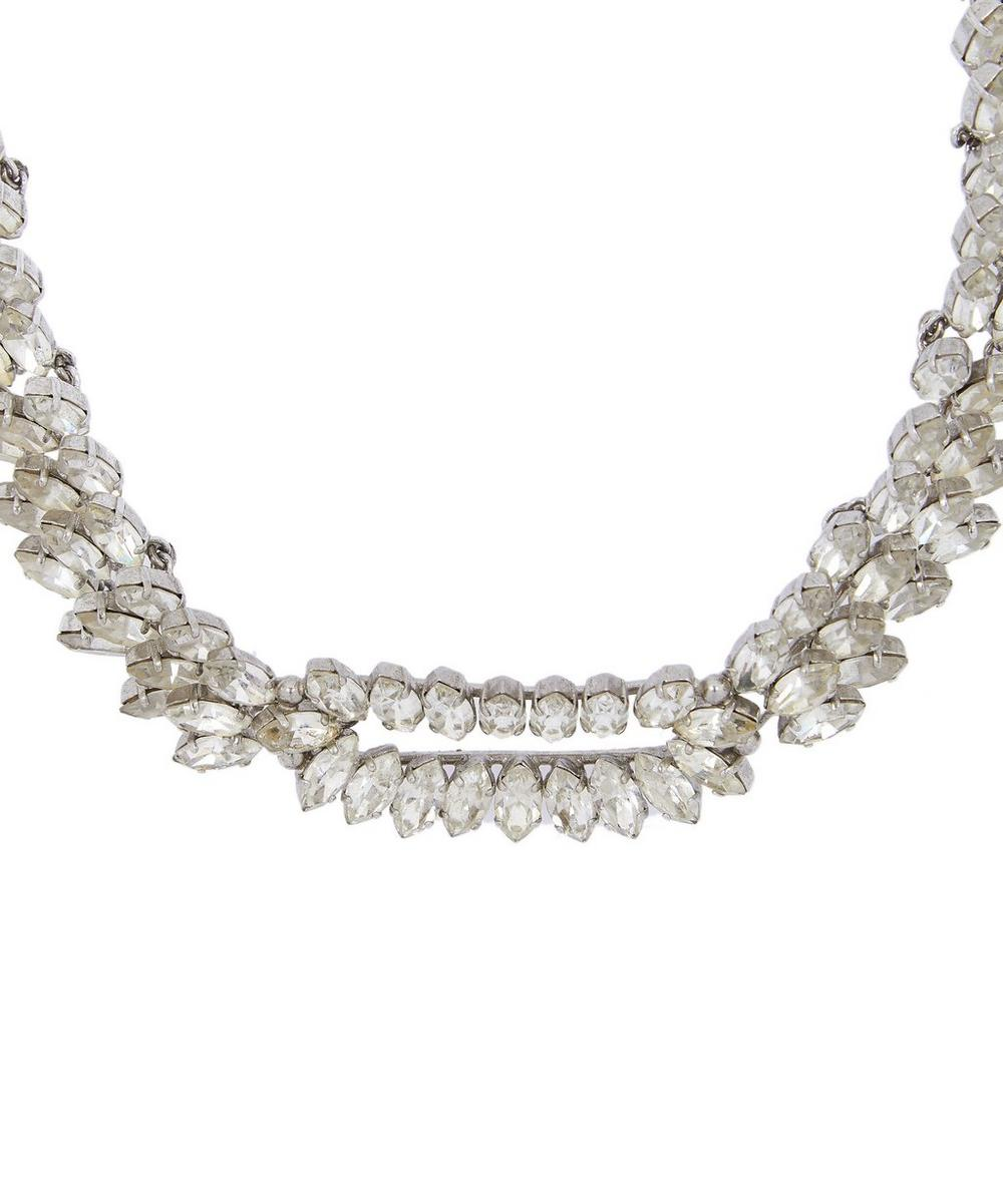 Designer Vintage - 1960s Christian Dior White Metal Faux Diamond Necklace