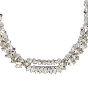 1960s Christian Dior White Metal Faux Diamond Necklace