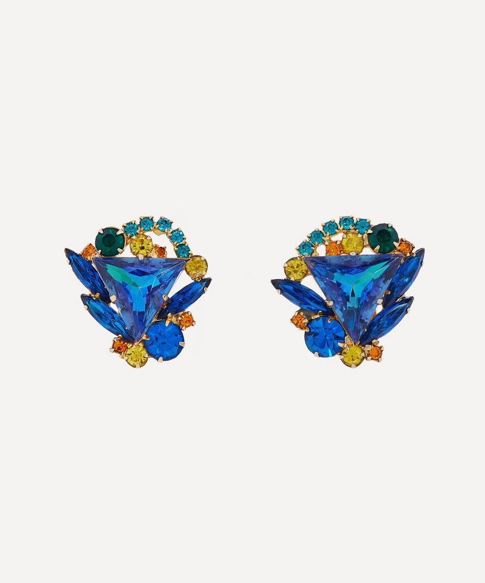 Designer Vintage - 1980s Gilt Faux Gemstone Clip-On Earrings