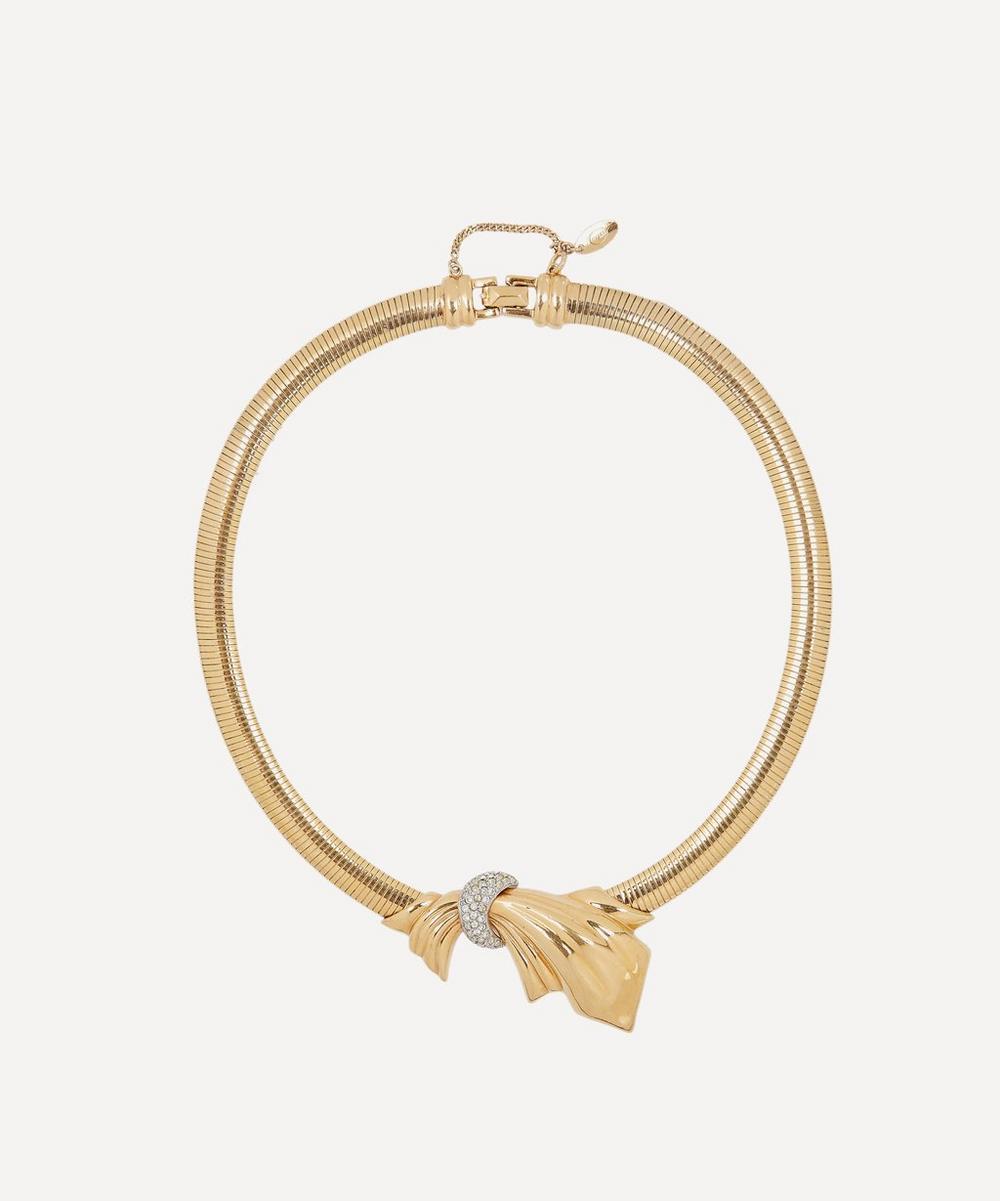Designer Vintage - 1980s Gontie Gilt Faux Diamond Necklace