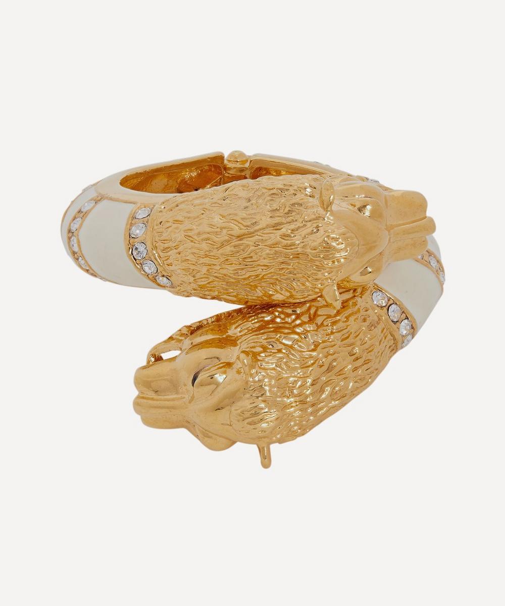 Designer Vintage - 1970s Gilt Lacquer and Faux Diamond Lion Cuff Bracelet