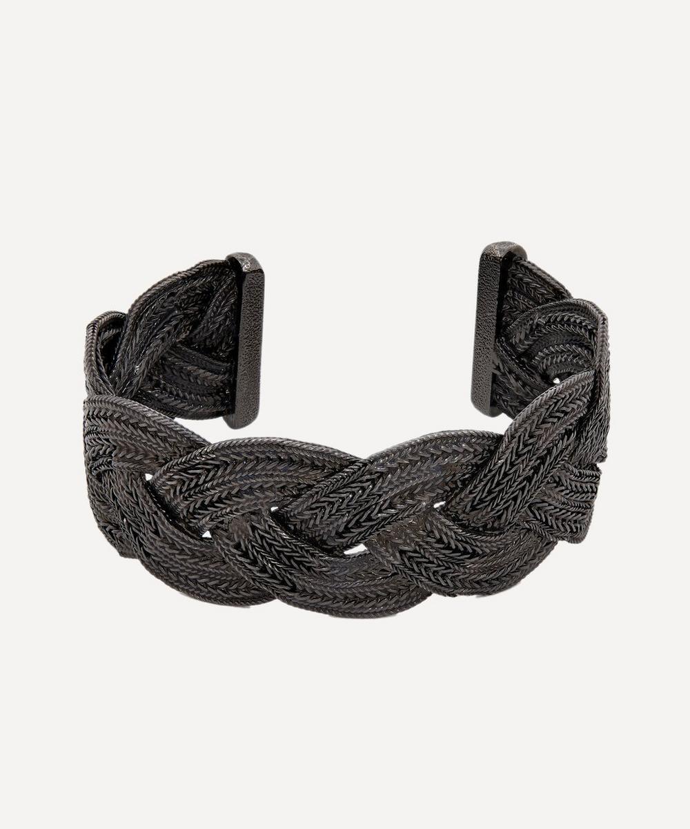 Designer Vintage - Turn of the Century Chanel Dark White Metal Plaited Cuff Bracelet