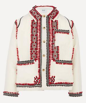 Pom-Pom Appliqué Workwear Jacket