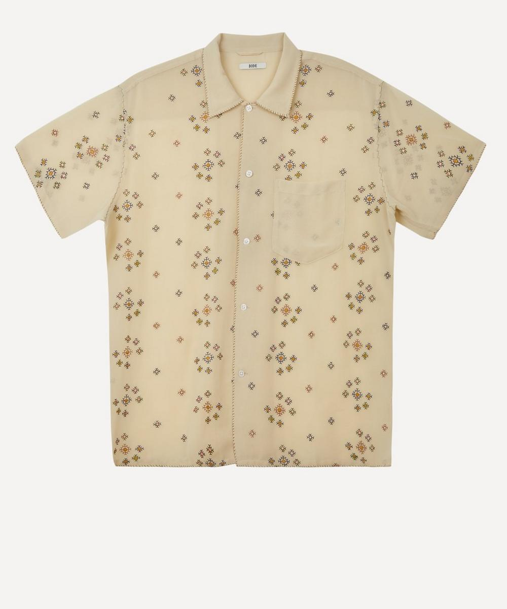 Bode - Star Cross-Stitch Sheer Short-Sleeve Shirt