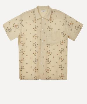 Star Cross-Stitch Sheer Short-Sleeve Shirt