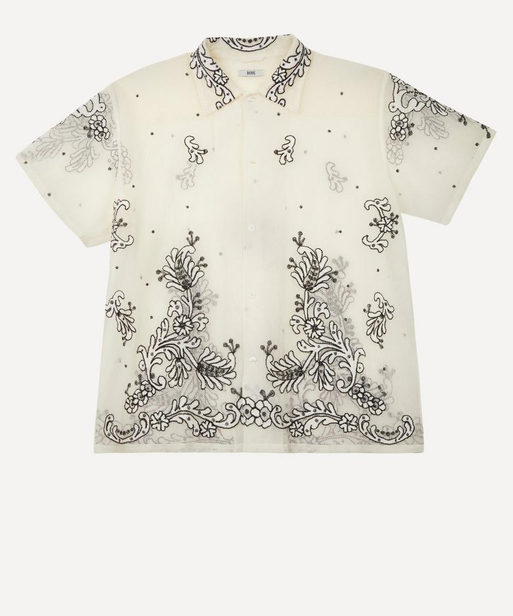 Bode - Embroidered Mesh Short-Sleeve Shirt