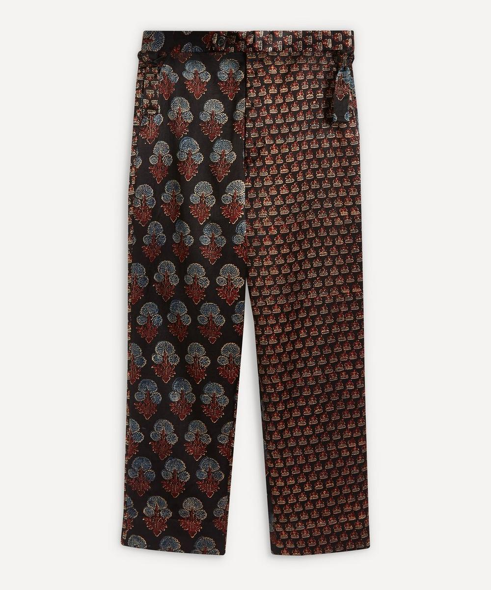 Bode - Duo Block Print Silk Trousers