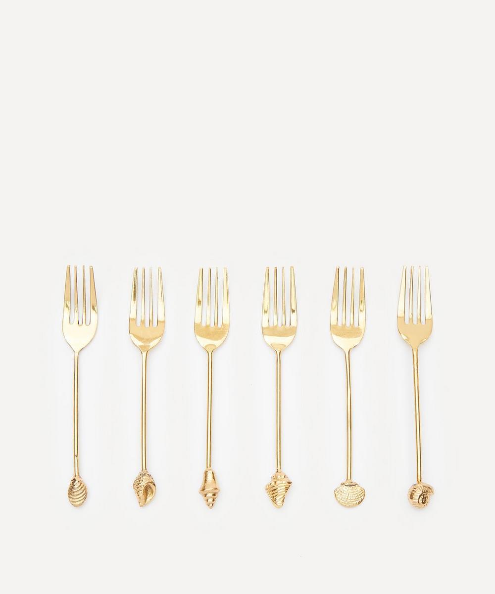 Anna + Nina - Mermaid Brass Fork Set of Six