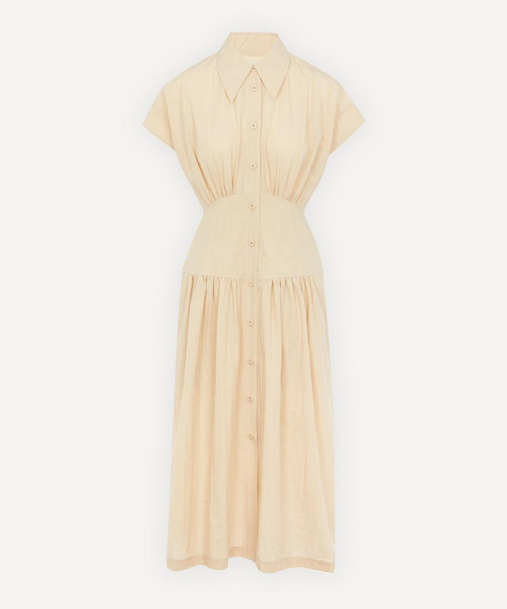 LOW CLASSIC - Waist Shirring Cotton Midi-Dress