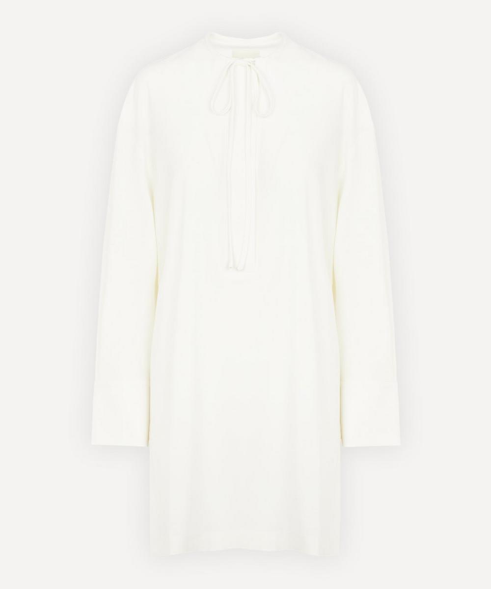 LOW CLASSIC - Shirring Neck Wool-Blend Dress