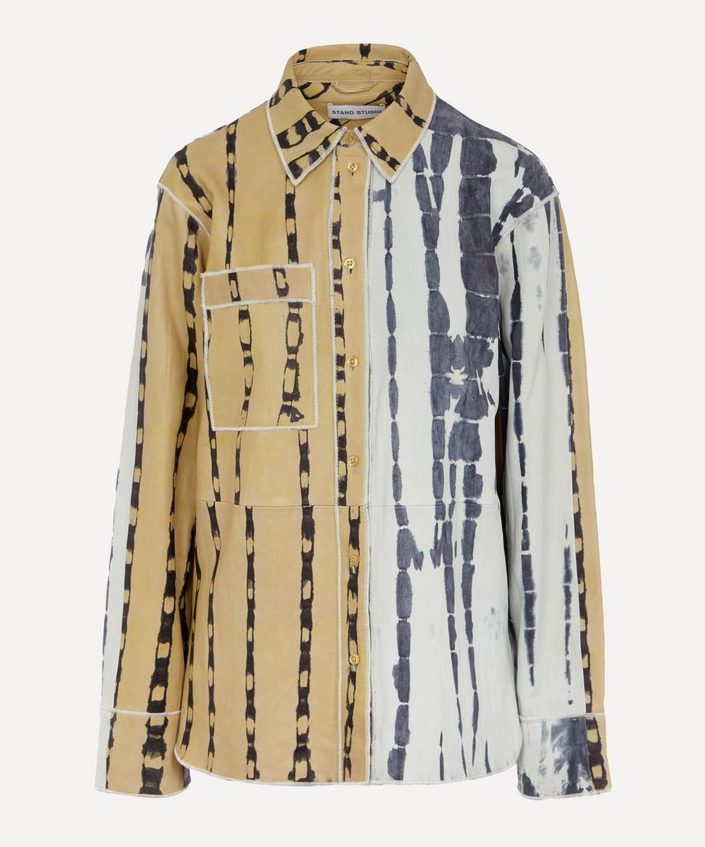 STAND STUDIO - Kendra Lamb Leather Tie-Dye Shirt