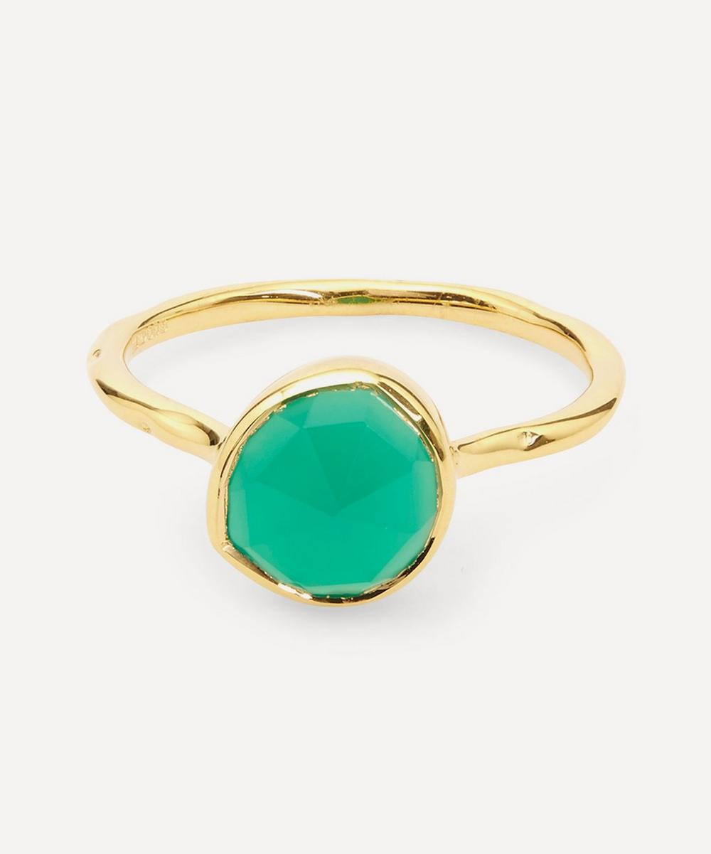 Monica Vinader - Gold Plated Vermeil Silver Siren Green Onyx Stacking Ring