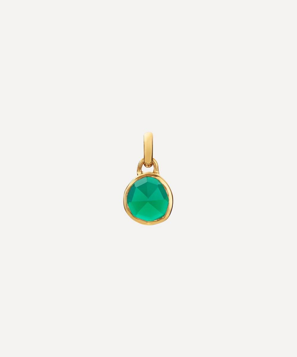 Monica Vinader - Gold Plated Vermeil Silver Siren Mini Green Onyx Bezel Pendant Charm