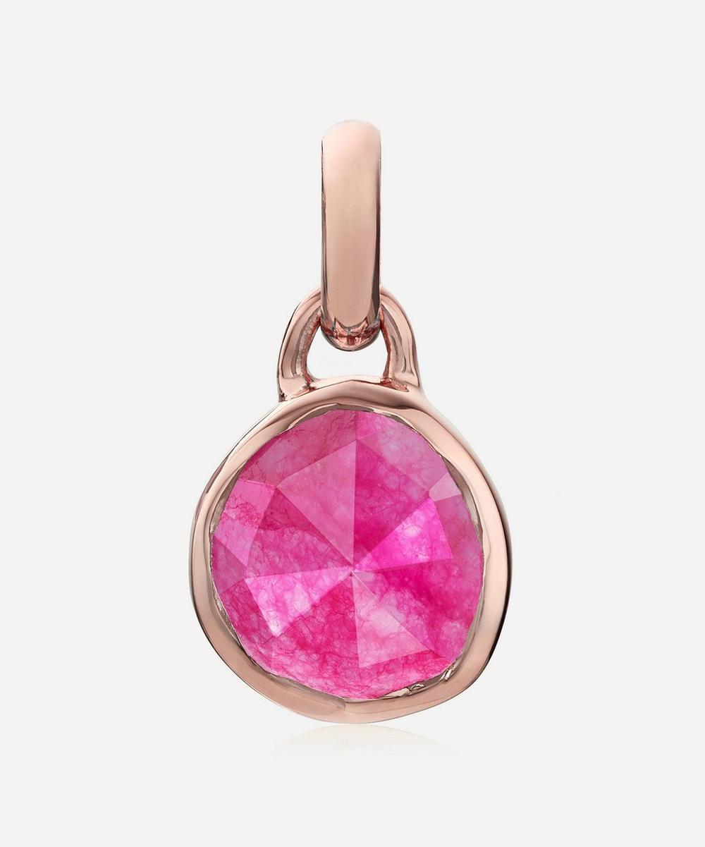 Monica Vinader - Rose Gold Plated Vermeil Silver Siren Mini Pink Quartz Bezel Pendant
