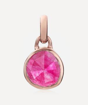 Rose Gold Plated Vermeil Silver Siren Mini Pink Quartz Bezel Pendant