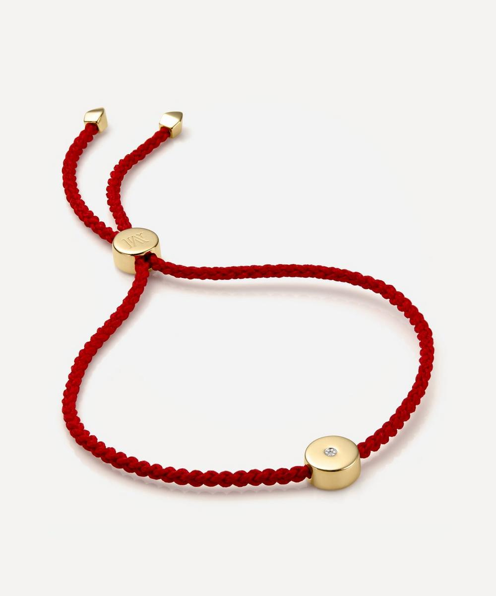 Monica Vinader - Gold Plated Vermeil Silver Linear Solo Diamond Cord Friendship Bracelet