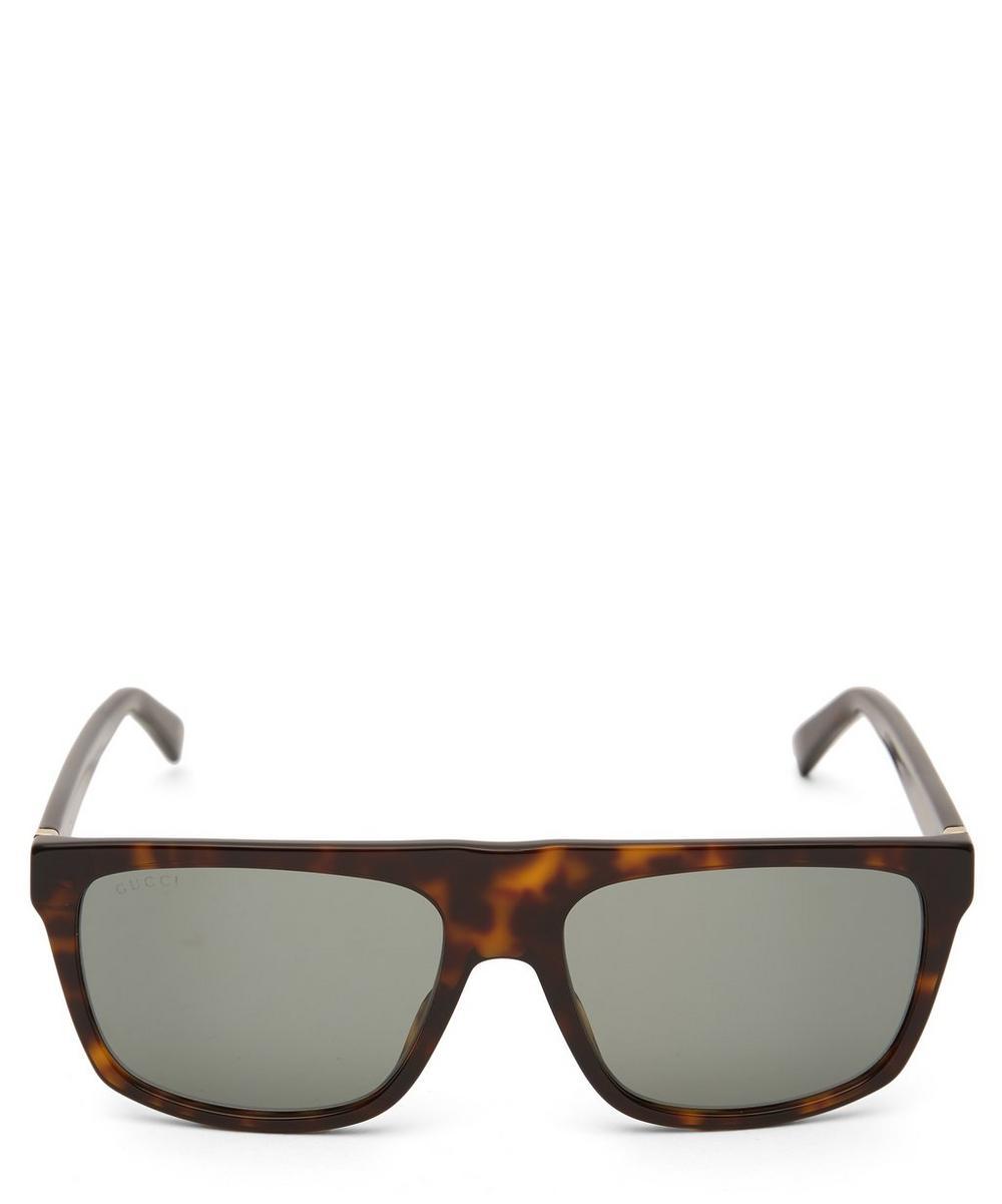 Gucci - Flat-Top Rectangular Acetate Sunglasses
