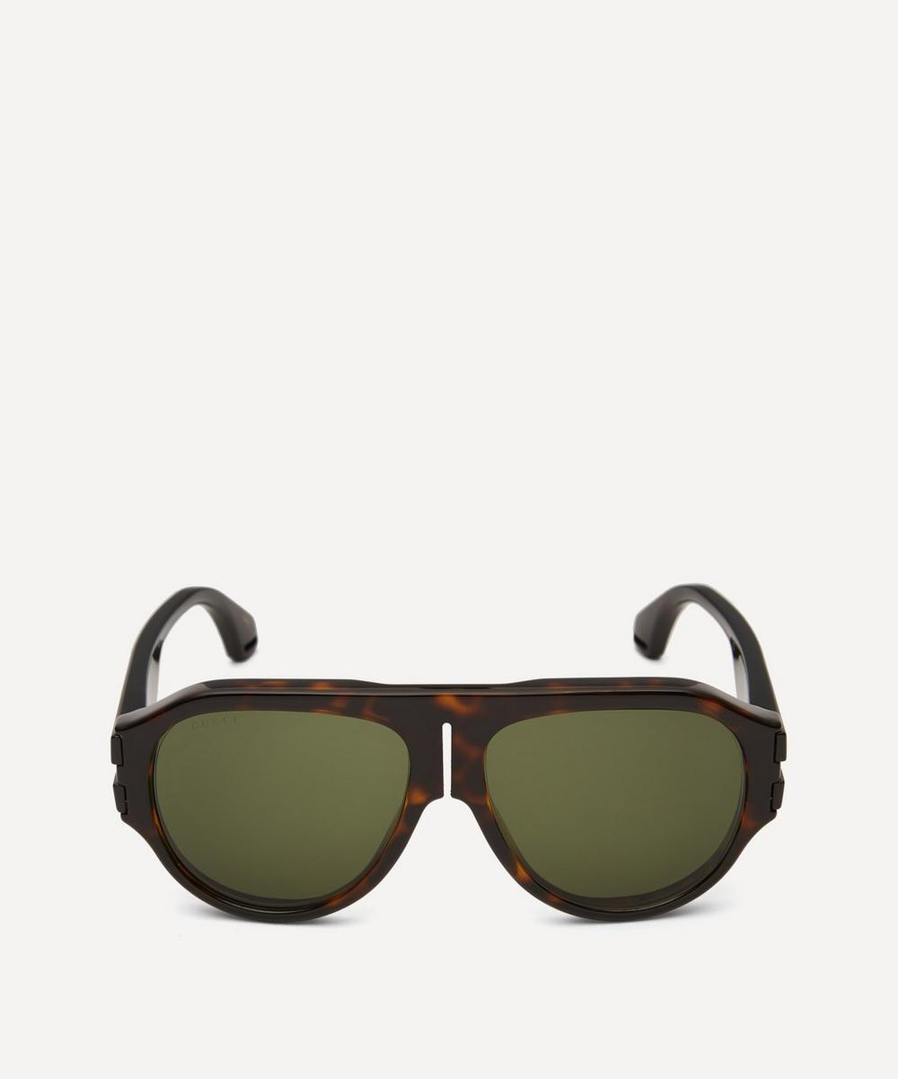 Gucci - Flat-Top Injected Acetate Sunglasses