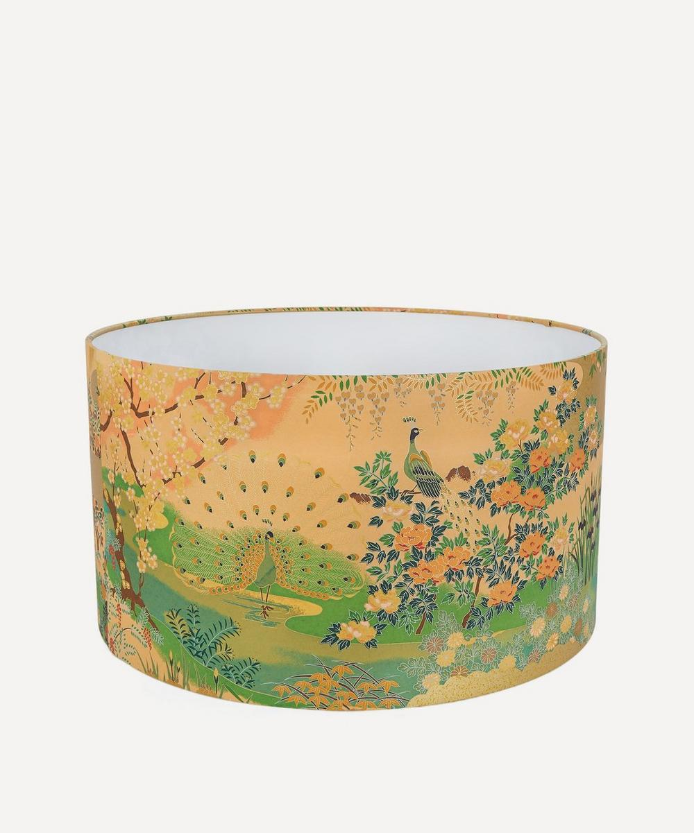 Esmie - Gold Peacocks Silk Screen-Printed Lampshade