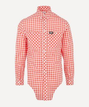 Cut-Out Hem Gingham Shirt