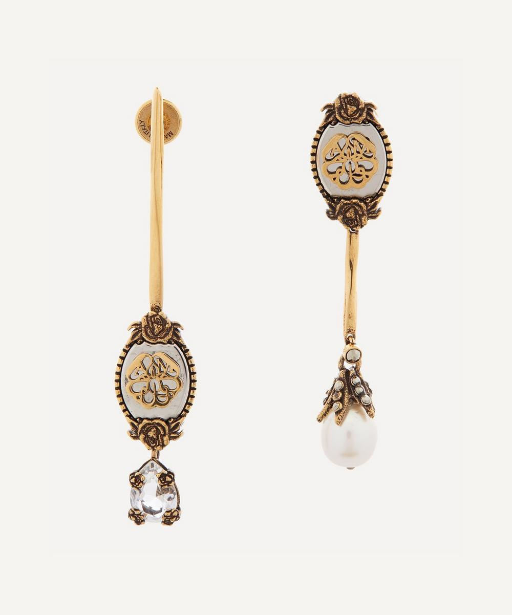 Alexander McQueen - Gold-Tone Brass Asymmetric Signature Drop Earrings