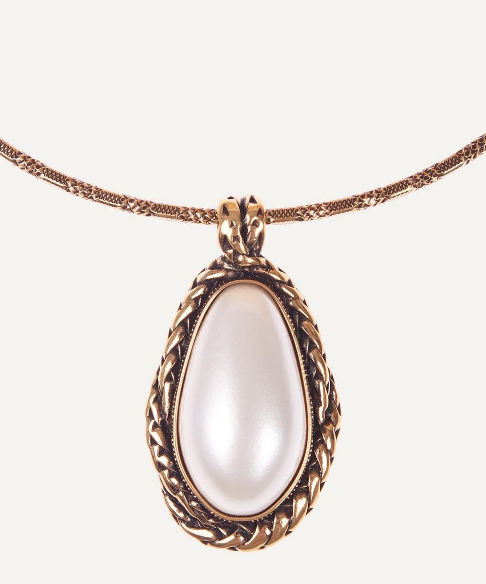 Alexander McQueen - Gold-Tone Brass Faux Pearl Choker Necklace