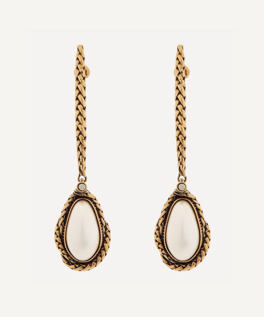 Alexander McQueen - Gold-Tone Brass Faux Pearl Drop Earrings