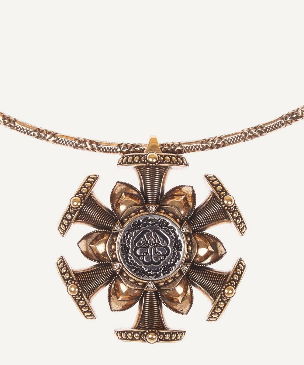 Alexander McQueen - Gold-Tone Brass Rose Seal Double Chain Necklace