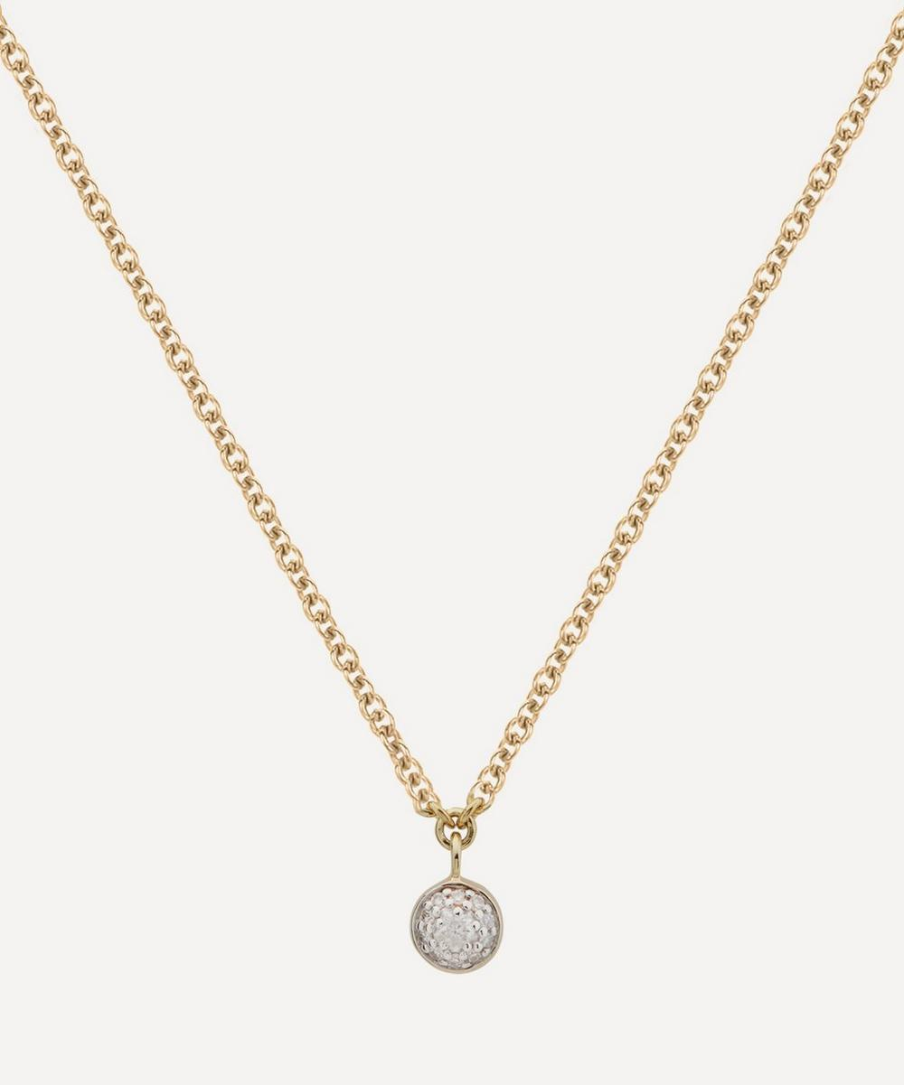 Monica Vinader - Gold Plated Vermeil Silver Fiji Tiny Diamond Button Single Drop Necklace