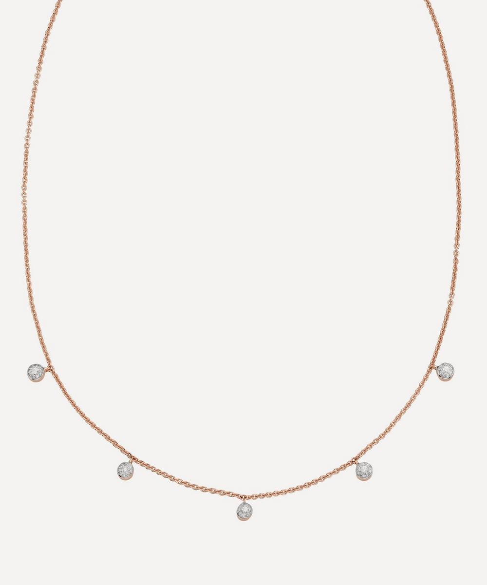 Monica Vinader - Rose Gold Plated Vermeil Silver Fiji Tiny Diamond Button Necklace