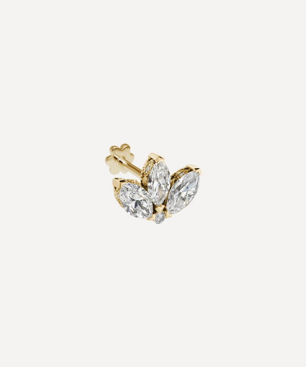 Maria Tash - 6mm Diamond Engraved Lotus Threaded Stud Earring