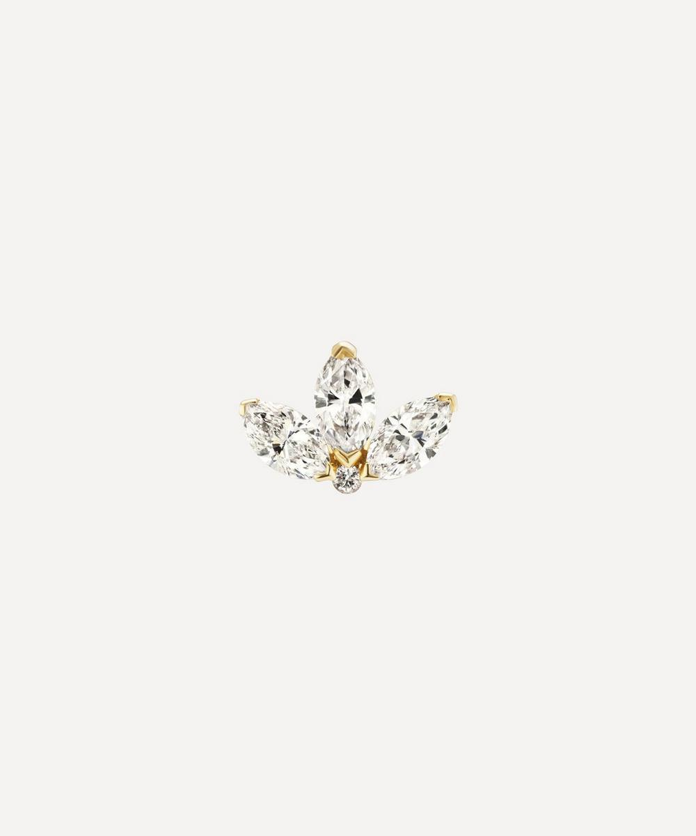 Maria Tash - 4mm Diamond Engraved Lotus Threaded Stud Earring