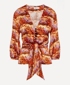 Dina Silk Tie Puff-Sleeve Shirt