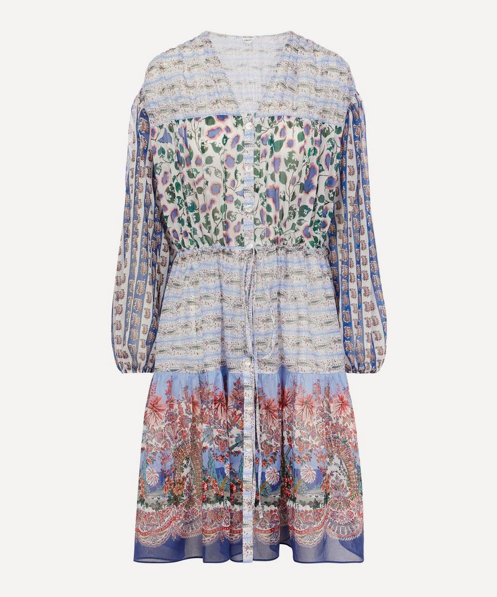 Liberty - Mixed Print Cotton Chiffon Tiered Midi Dress