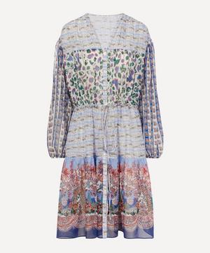 Mixed Print Cotton Chiffon Tiered Midi Dress