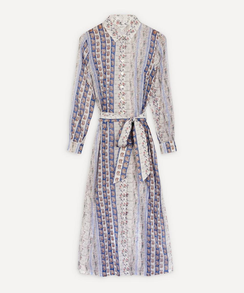 Liberty - Mixed Print Cotton Chiffon Shirt Dress