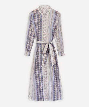 Mixed Print Cotton Chiffon Shirt Dress