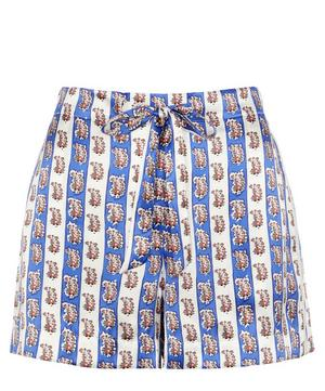 Mixed Print Relaxed Silk Shorts