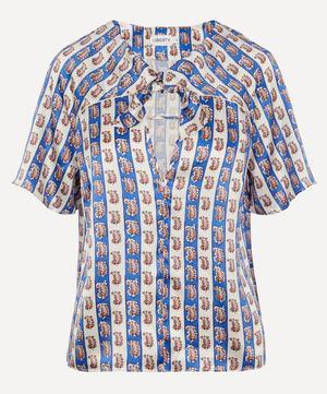 Mixed Print Silk Beach Tie T-shirt