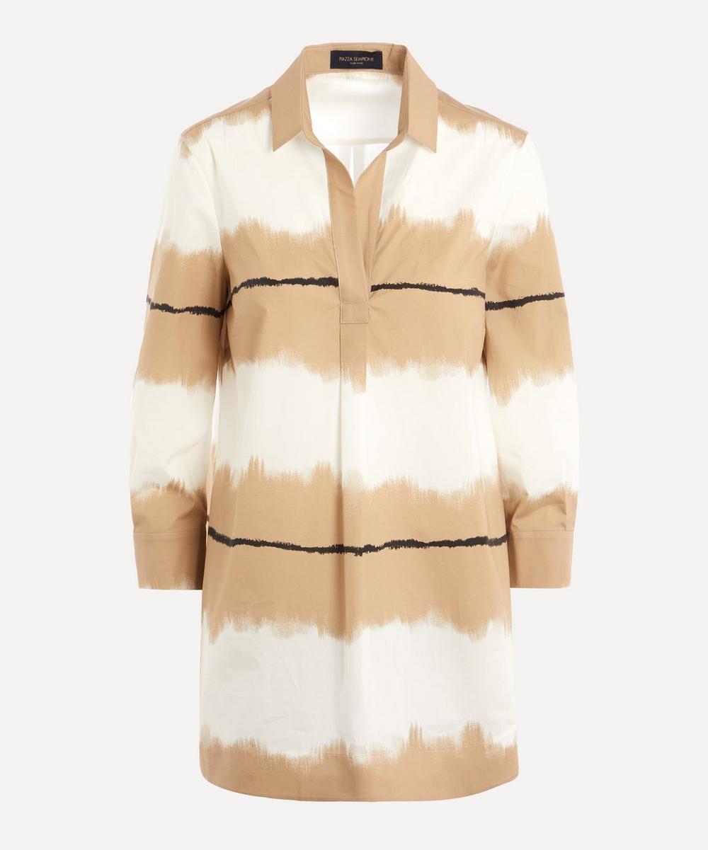 Piazza Sempione - Ombre Art Striped Cotton Tunic Shirt