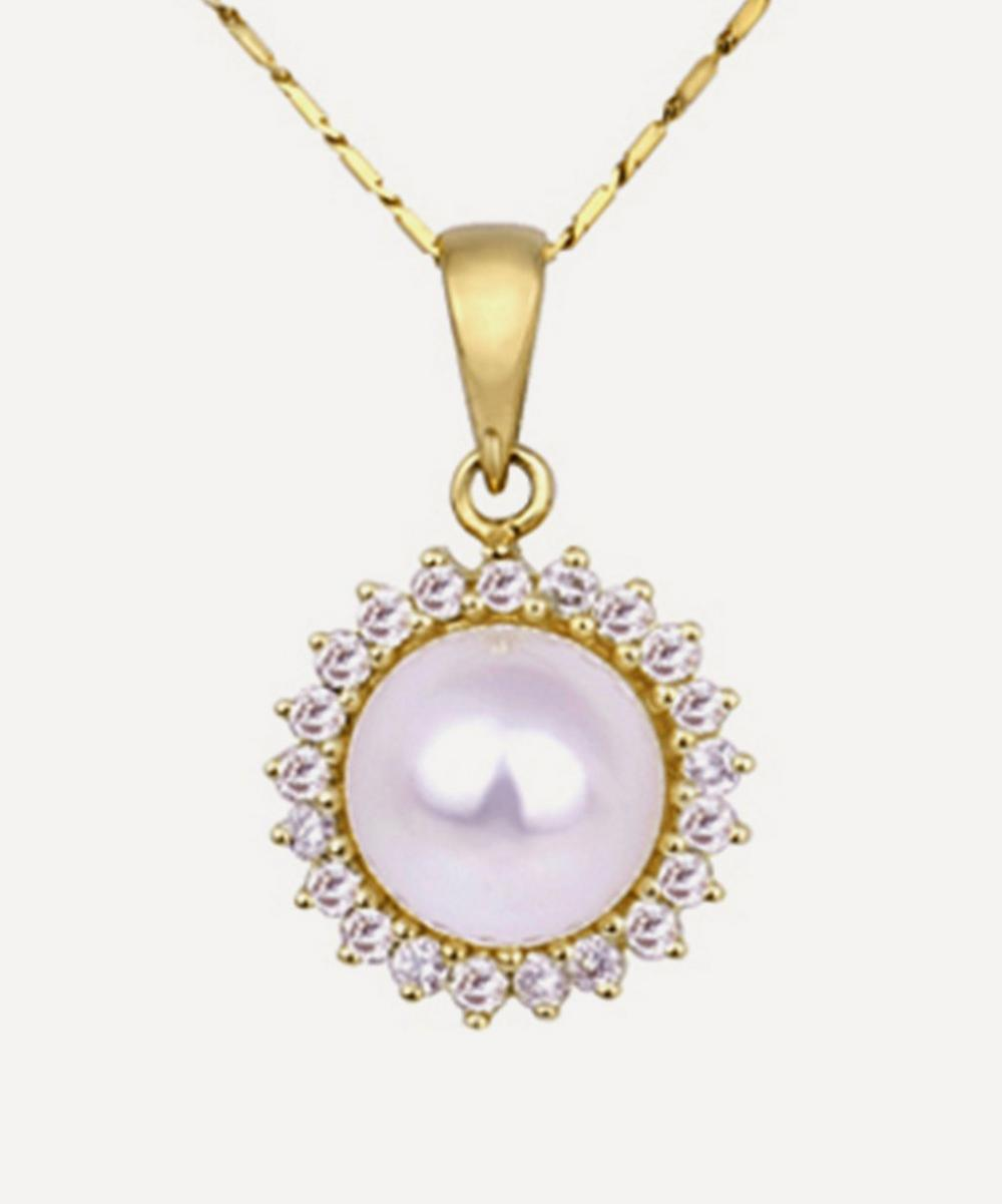 Kojis - Gold Pearl and Diamond Cluster Pendant Necklace
