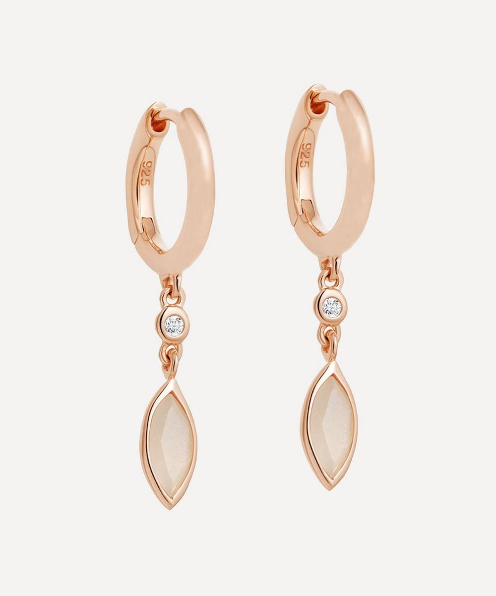 Astley Clarke - Rose Gold Plated Vermeil Silver Paloma Petal Moonstone and White Sapphire Drop Earrings