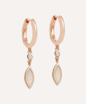 Rose Gold Plated Vermeil Silver Paloma Petal Moonstone and White Sapphire Drop Earrings